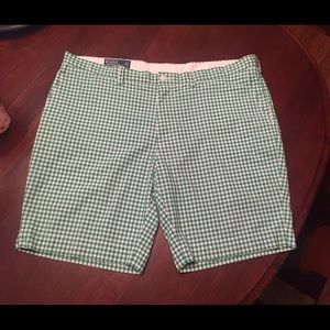 Men's Polo flat front Green gingham walking shorts